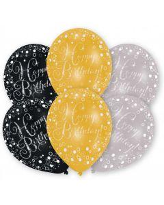 Sølv, guld og sorte Happy Birthday balloner