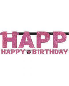 Happy Birthday banner 2,13 m. - Pink