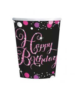 Happy Birthday papkrus 8 stk. - Pink