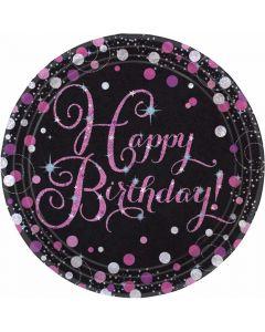 Happy Birthday paptallerkner 8 stk. - Pink