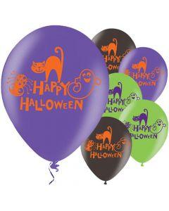 Halloween balloner 6 stk. - Sort, grøn & Lilla