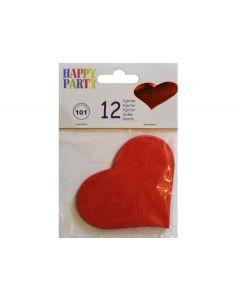 Røde hjerter i papir 12 stk.