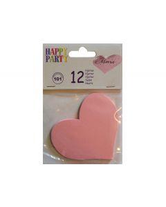 Lyserøde hjerter i papir 12 stk.