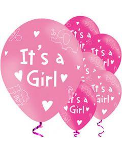 It´s a Girl balloner 6 stk. - Pink og lyserøde
