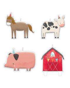 Kagelys med bondegårds dyr og rød lade