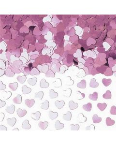 Små konfetti hjerter i lilla pastel