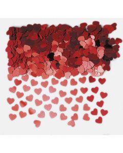 Små røde konfetti metal hjerter - 14 g.