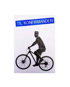 Kort til konfirmation - Dreng på cykel - Til penge