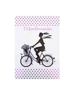Kort til konfirmation - Pige på cykel - Til penge