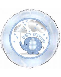 Baby shower folieballon 45,7 cm. - Umbrellaphants - Dreng