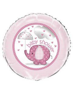 Baby shower folieballon 45,7 cm. - Umbrellaphants - Pige