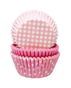Lyserøde muffinsforme med mønster