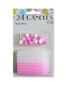 Kagelys lyserøde og hvide 24 stk.