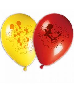 Røde og gule balloner med Mickey Mouse