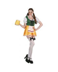 Oktoberfest kjole i gul og grøn