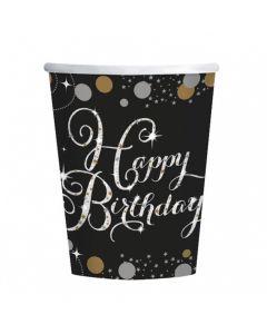 Happy Birthday papkrus 8 stk. - Sølv