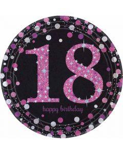 18 års fødselsdag paptallerkner 8 stk. - Pink
