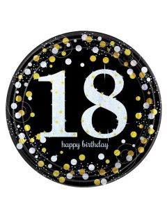 18 års fødselsdag paptallerkner 8 stk. - Sølv