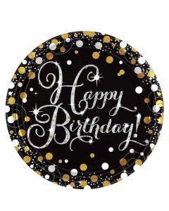 Happy Birthday paptallerkner 8 stk. - Sølv