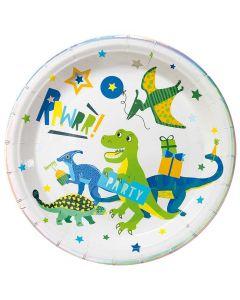 Paptallerkner med dinosaur