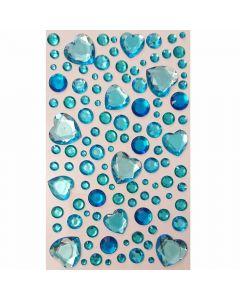 Selvklæbende pynte krystaller - Lyseblå med hjerter