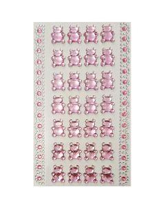 Selvklæbende pynte krystaller - Lyserøde bamser