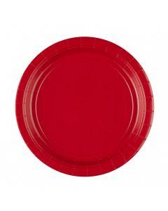 Røde paptallerkner 8 stk. 23 cm.