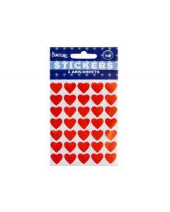 Røde hjerte stickers 70 stk.