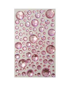 Selvklæbende pynte krystaller - Runde lyserøde