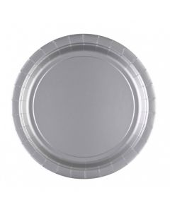 Sølvgrå paptallerkner 8 stk. 23cm.