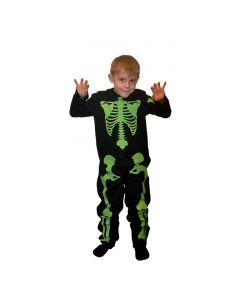 Selvlysende skelet børne kostume