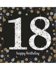 18 års fødselsdag servietter 16 stk. - Sølv