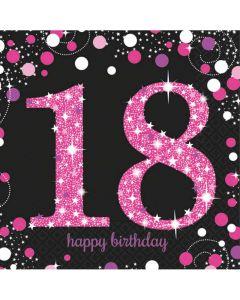 18 års fødselsdag servietter 16 stk. - Pink