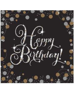 Happy Birthday servietter 16 stk. - Sølv
