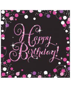 Happy Birthday servietter 16 stk. - Pink