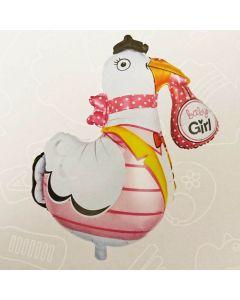 Supershape folieballon 75 cm. - Lyserød stork