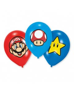 "Super Mario balloner med farveprint 11"" - 6 stk."