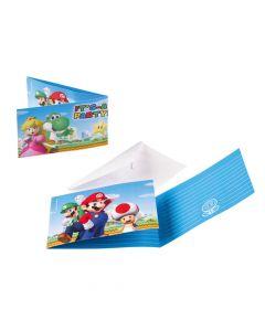 Super Mario indbydelser 8 stk.