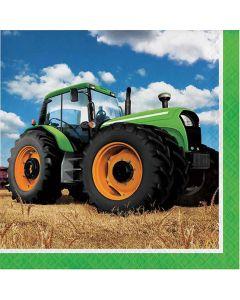 Servietter med grøn traktor