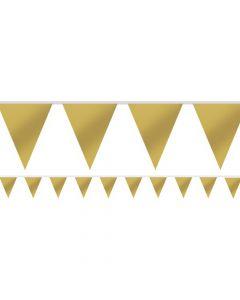 Guldfarvet vimpelbanner som måler 4,5 meter.
