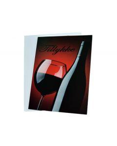Tillykke kort med vin 1 stk.